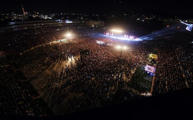 From the rooftop Six60 perform at Eden Park. Photo / Getty Images