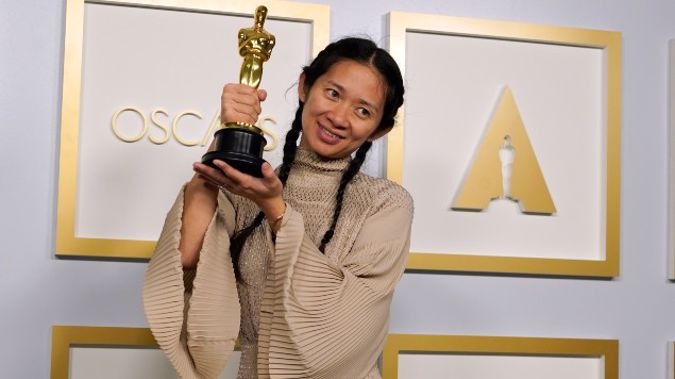 """Director/Producer Chloe Zhao, winner of the award for best picture for """"Nomadland,"""""""