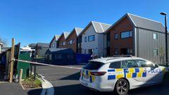 A police cordon outside Kenneth Daniel Hawkins' unit in Christchurch. Photo / Anna Leask
