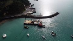 Barge at the site of new marina. Photo / supplied