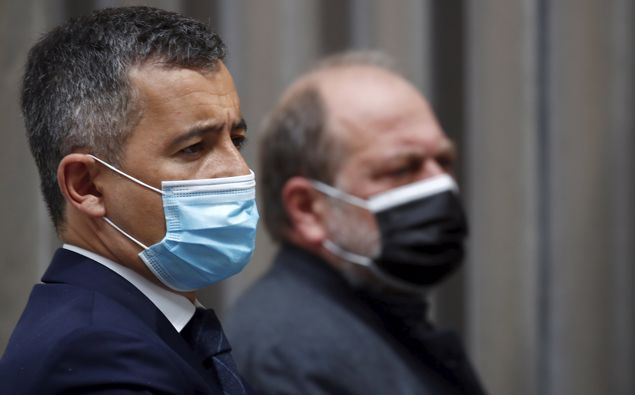 French Interior Minister Gerald Darmanin and Justice Minister Eric Dupond-Moretti. (Photo / AP)