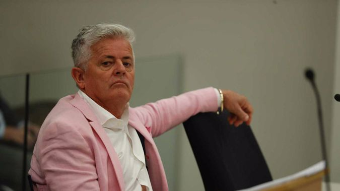 Leo Molloy appearing for sentence in the Auckland District Court today. Photo / Dean Purcell