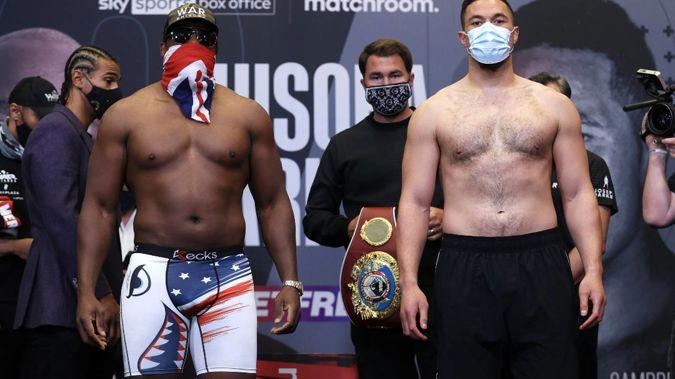 Derek Chisora (L) and Joseph Parker at their pre-fight weigh-in. (Photo / Photosport)
