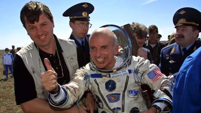 Dennis Tito, pictured here after landing back on earth in May 2001, was the world's first space tourist. (Photo / Getty)