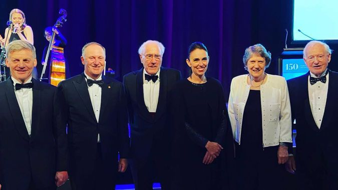 Former Prime Ministers Sir Bill English, Sir John Key, Sir Geoffrey Palmer, Helen Clark and Jim Bolger pose with current Prime Minister Jacinda Ardern. Photo / Supplied