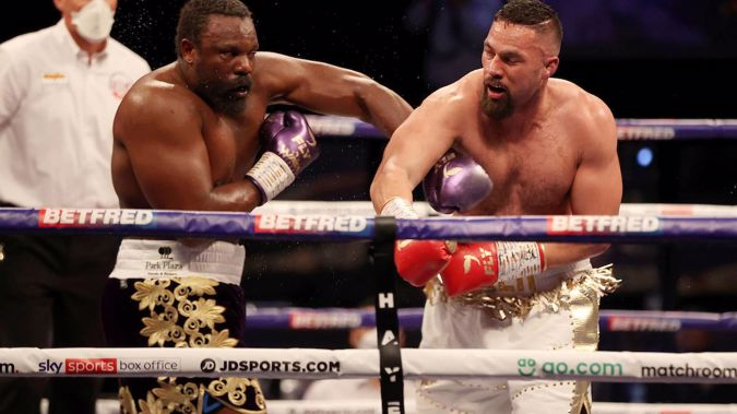 Derek Chisora and Joseph Parker going toe-to-toe in their heavyweight contest. Picture By Mark Robinson Matchroom Boxing