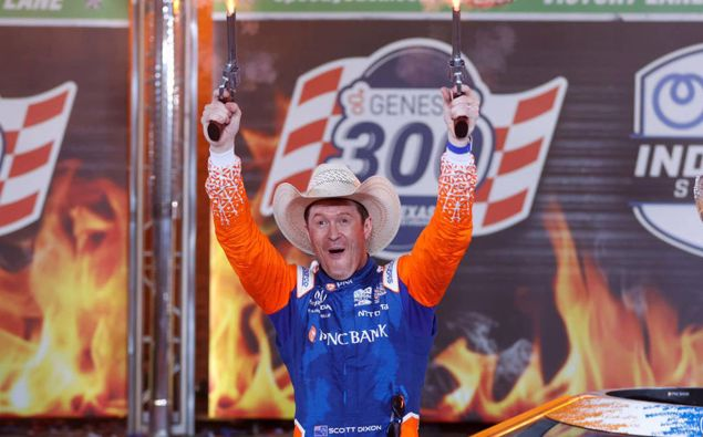 Scott Dixon celebrates in victory lane after winning the NTT IndyCar Series Genesys 300 at Texas Motor Speedway. Photo / Getty