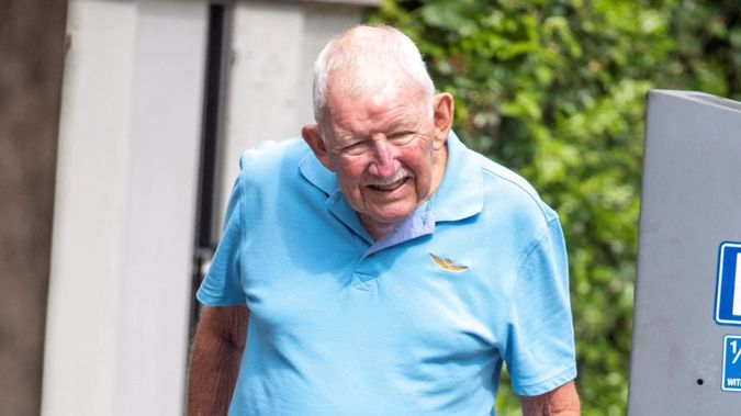 Sir Ron Brierley out for a stroll in Sydney's Double Bay in December 2020. Photo / Liam Mendes