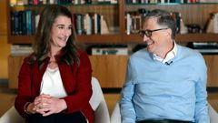Bill and Melinda Gates smile at each other during an interview in 2019. Photo / AP