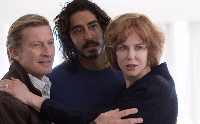 Characters in the film 'Lion' Saroo (DevPatel) with his adoptive parents John and Sue Brierley (David Wenham and Nicole Kidman).
