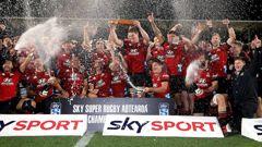 The Crusaders celebrate winning the Super Rugby Aotearoa 2021. Photo / Photosport