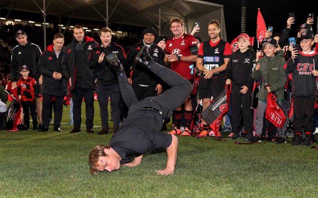 Crusaders coach Scott Robertson celebrates winning the Super Rugby Aotearoa 2021. Photosport