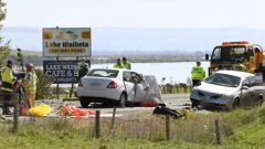 Two people were killed and three people were injured in this incident south of Waihola on Saturday. (Photo / Stephen Jaquiery)