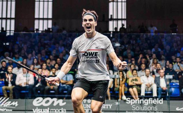 Paul Coll celebrates winning the British Open. (Photo / PSA Squash)