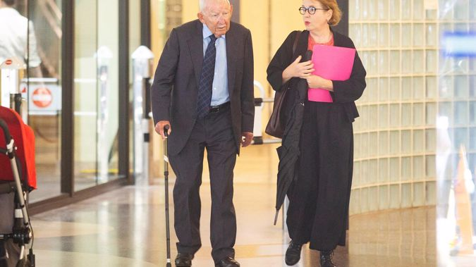 Ron Brierley at Sydney's Downing Centre court building for his case in February last year. (Photo / Getty Images)