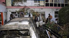 Afghan people at a house after US drone strike in Kabul. (Photo / AP)