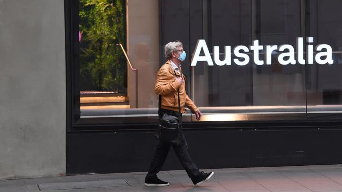 A pedestrian in Sydney's CBD on July 20, 2021. (Photo / Getty Images)