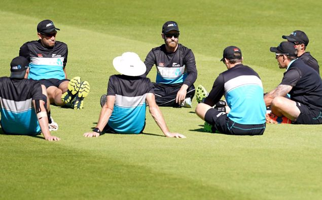 Kane Williamson (centre) with teammates during a nets session at Edgbaston. (Photo / Getty)