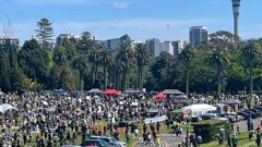 Thousands of protestors at the Auckland Domain on Super Saturday, October 16, 2021. (Photo / NZ Herald)