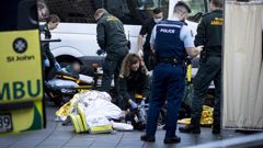 Emergency services attending to multiple patients outside SkyCity in central Auckland. Photo / Dean Purcell