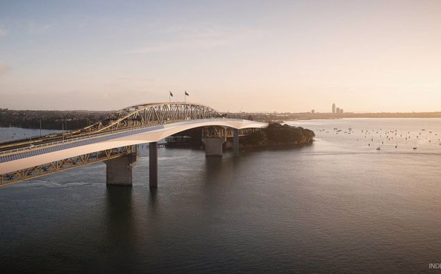 A concept drawing for the Northern Pathway, a new separate structure for walking and cycling next to the existing Auckland Harbour Bridge. (Picture / Supplied)
