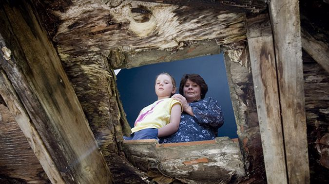 Wilna White and daughter Shani. Their leaky home developed a hole in the floor due to rotting. (Newspix)