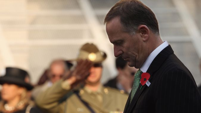 New Zealand Prime Minister John Key joins in a service of remembrance at the Cenotaph on Whitehall on April 25, 2011 in London (Getty Images)