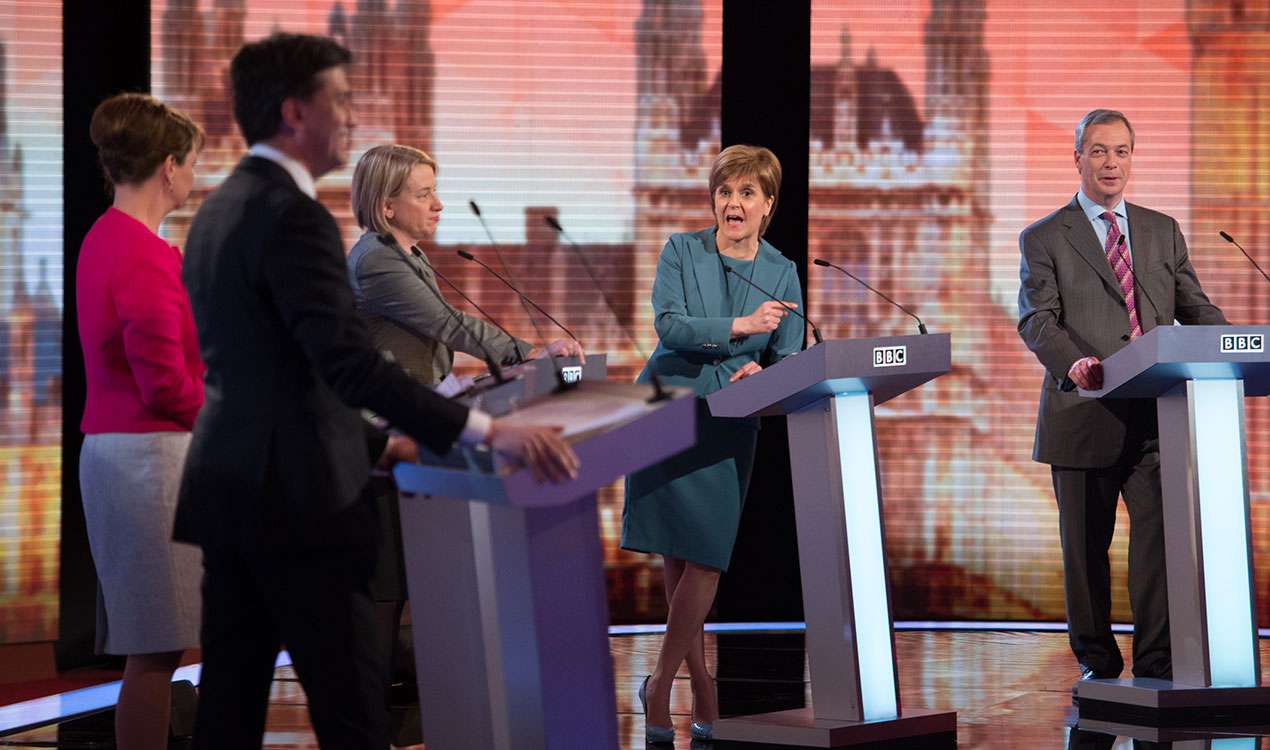 (L-R) Labour leader Ed Miliband, Plaid Cymru leader Leanne Wood, Green Party Leader Natalie Bennett, SNP leader Nicola Sturgeon and UKIP leader Nigel Farage take part in the Live BBC Election Debate (Getty Images)