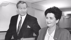 Prime Minister Jim Bolger and His Finance Minister Ruth Richardson on Budget night, 1991 (NZME.)