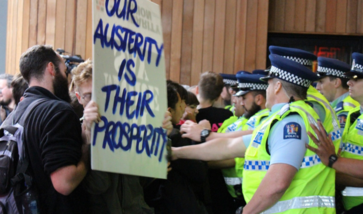 Protestors at SkyCity (Newstalk ZB)