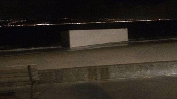 The shipping crate washed up on Oriental Bay (Photo: Libby Davidson)