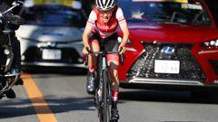 Anna Kiesenhofer of Austria leading the women's cycling road race at the 2020 Summer Olympics. Photo / AP
