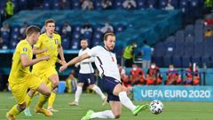 Harry Kane scores the first of his two goals against Ukraine in England's 4-0 quarter-final win. (Photo / Getty)