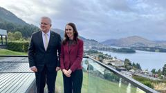 Scott Morrison and Jacinda Ardern following their one-on-one talks in Queenstown ahead of formal bilateral talks. Photo / Derek Cheng