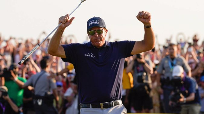 Phil Mickelson celebrates after winning the PGA Championship. (Photo / AP)