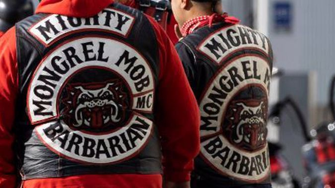 A regular Mongrel Mob Barbarians patch. The Tararua chapter of the gang is now wearing white patches. (Photo / NZME)