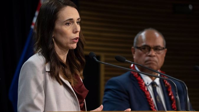 Prime Minister Jacinda Ardern and Pacific Peoples Minister Aupito William Sio addressing the dawn raids during a post-Cabinet press conference last month. (Photo / Mark Mitchell)