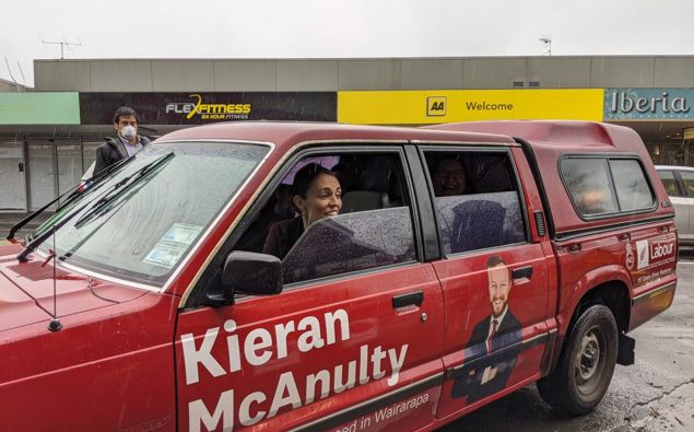 Prime Minister Jacinda Ardern taking a ride in Wairaparapa MP Kieran McAnulty's ute during the 2020 election. (Photo / NZ Herald)