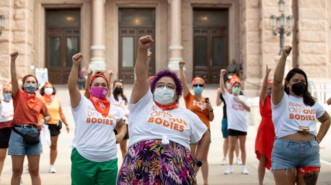 In this Wednesday, Sept. 1, 2021 file photo, Barbie H. leads a protest against the six-week abortion ban at the Capitol in Austin, Texas. (Photo / AP)