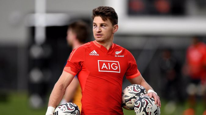 Beauden Barrett, sporting two black eyes, looks on during an All Blacks training session at Logan Park. (Photo / Getty)