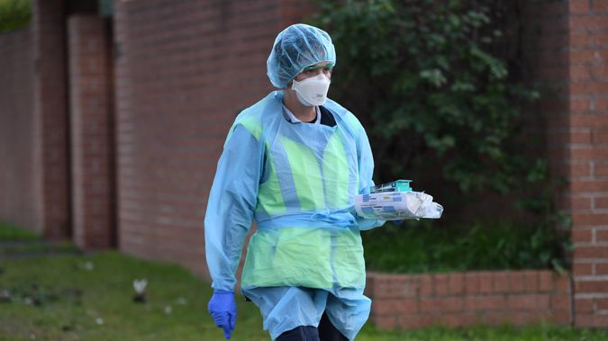 A health worker at Bondi Junction in Sydney on July 13, 2021. (Photo / Getty Images)