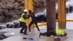 A video of an incident at the controversial marina development on Waiheke Island appears to show a protester being kicked in the face. (Photo and Video / Tati-Marie Nightinga via TikTok)