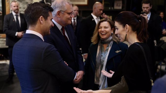 Australian PM Scott Morrison and his wife Jenny share a laugh with NZ PM Jacinda Ardern and fiancé Clarke Gayford at Queenstown today. Photo / George Heard