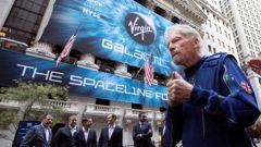 Richard Branson, founder of Virgin Galactic, outside the New York Stock Exchange. (Photo / AP)
