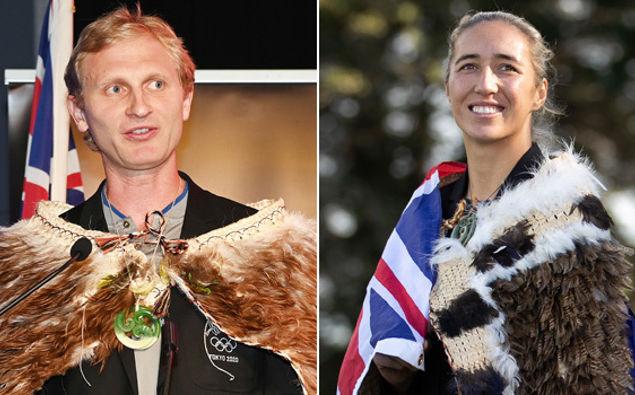 Flag bearers Hamish Bond and Sarah Hirini. (Photos / Photosport / Getty Images)