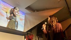 Jacinda Ardern's new puppet at Backbenchers in Wellington. (Photo / Aaron Dahmen)