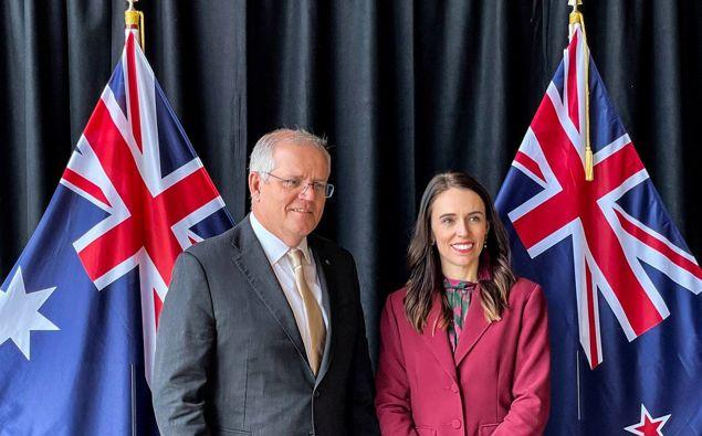 Scott Morrison and Jacinda Ardern at their talks in Queenstown. (Photo / Derek Cheng)