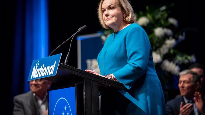 National Party leader Judith Collins addresses the National Party annual conference in Auckland. (Photo / Jason Oxenham)