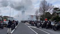 Burnouts as Head Hunters gang funeral procession heads south
