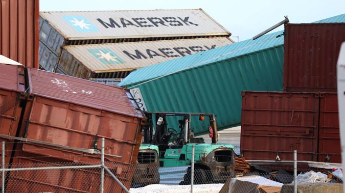 The tornado ripped through a Ports of Auckland shipping container yard in South Auckland. (Photo / Hayden Woodward)